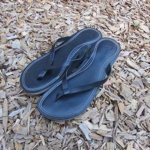 Nike Black Wedge Platform Flip Flop Sandals